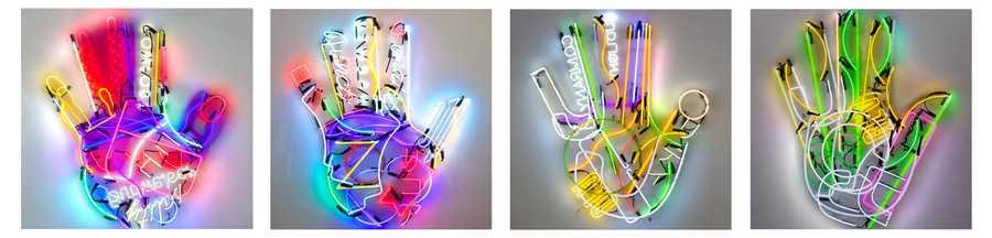 Iván Navarro, Fortune (serie), 2019, neones encontrados, 152 × 152 cm aprox c/u. Cortesía: Templon