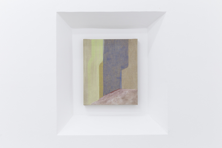 Elsa-Louise Manceaux, Escenario abierto, 2017. Témpera y lápices de color sobre lino. Cortesía de la artista y Lodos Gallery.
