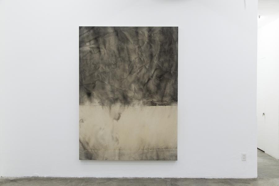 Sam Moyer, Sin título, 2014. Tinta sobre tela montada en madera. Colección ESPAC