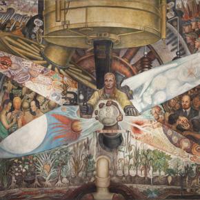 Diego Rivera, Man, Controller of the Universe, 1934, fresco, 4.8 × 11.4 m. Palacio de Bellas Artes, INBAL, Ciudad de México © 2020, Banco de México. Diego Rivera Frida Kahlo Museums Trust, México, D.F. / Artists Rights Society (ARS), New York. Reproducción autorizada por el Instituto Nacional de Bellas Artes y Literatura, 2020