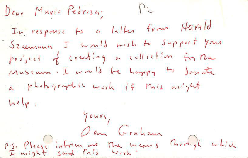 Anverso de la postal enviada por Dan Graham a Mário Pedrosa, Nueva York, s/f. © Museo de la Solidaridad Salvador Allende (MSSA), Santiago de Chile. Foto cortesía MSSA