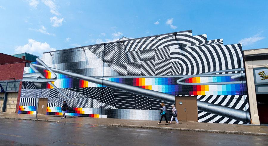 Felipe Pantone, Optichromie – BUF, 2019, Buffalo, Nueva York (EEUU). Comisionado por Albright-Knox Art Gallery Public Art Initiative. Cortesía del artista