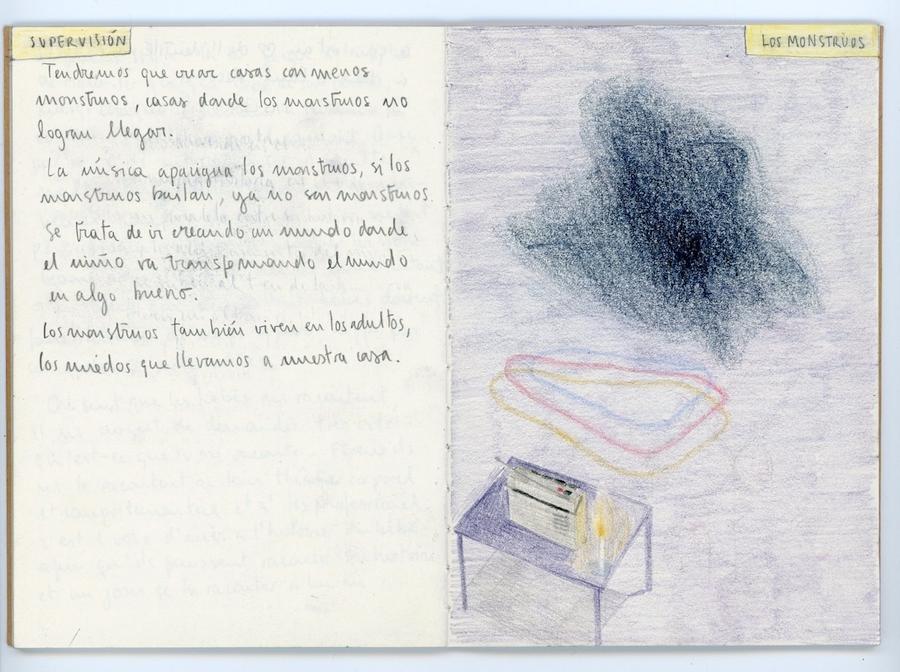 Catalina Quezada, Monstruos (hoja de cuaderno), 2019, 11 x 15 cm. Cortesía de la artista. Foto: Cristian Maturana Ortiz – Taller Atacama